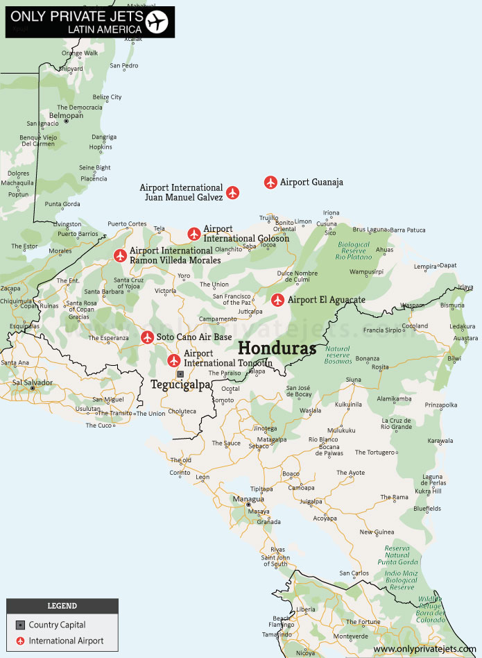 Honduras private jet airports map