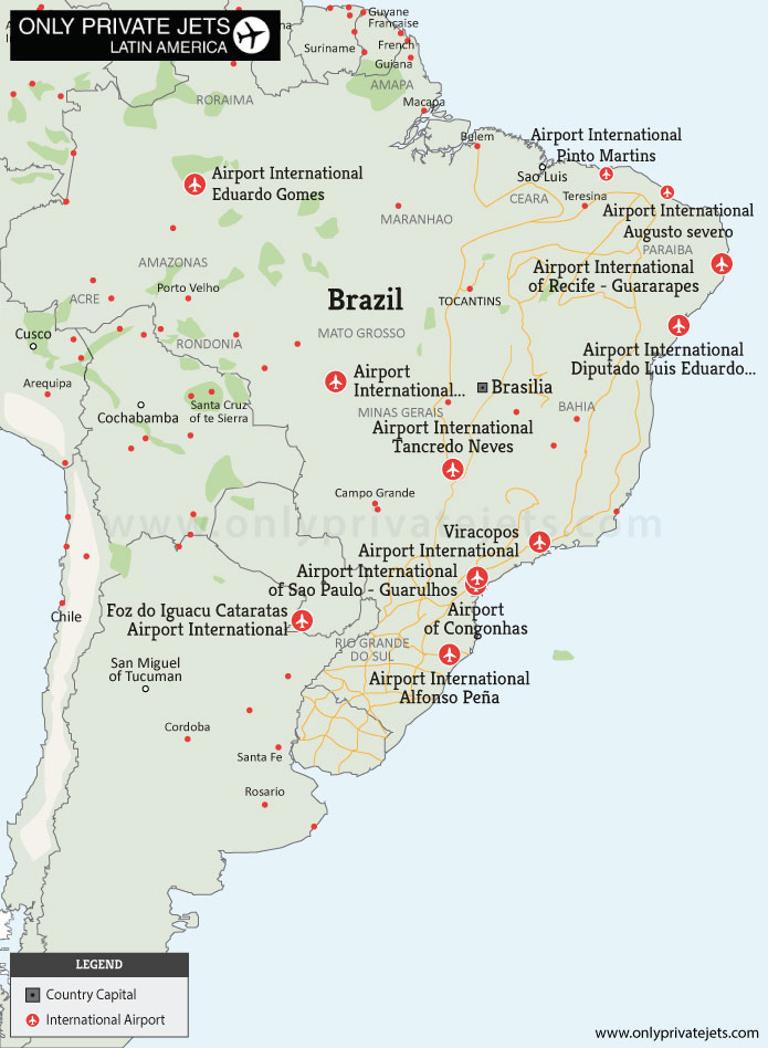 Brazil private jet airports map