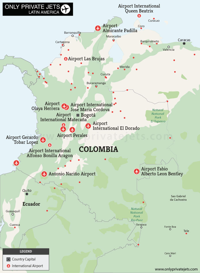 Colombia private jet airports map