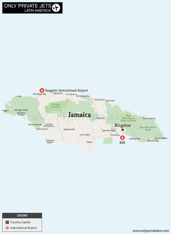 Jamaica private jet airports map