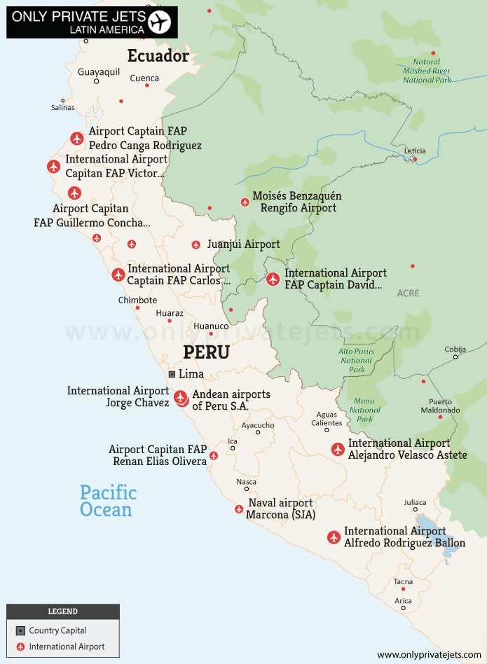 Airports In Peru Map.Private Jet Charter Peru