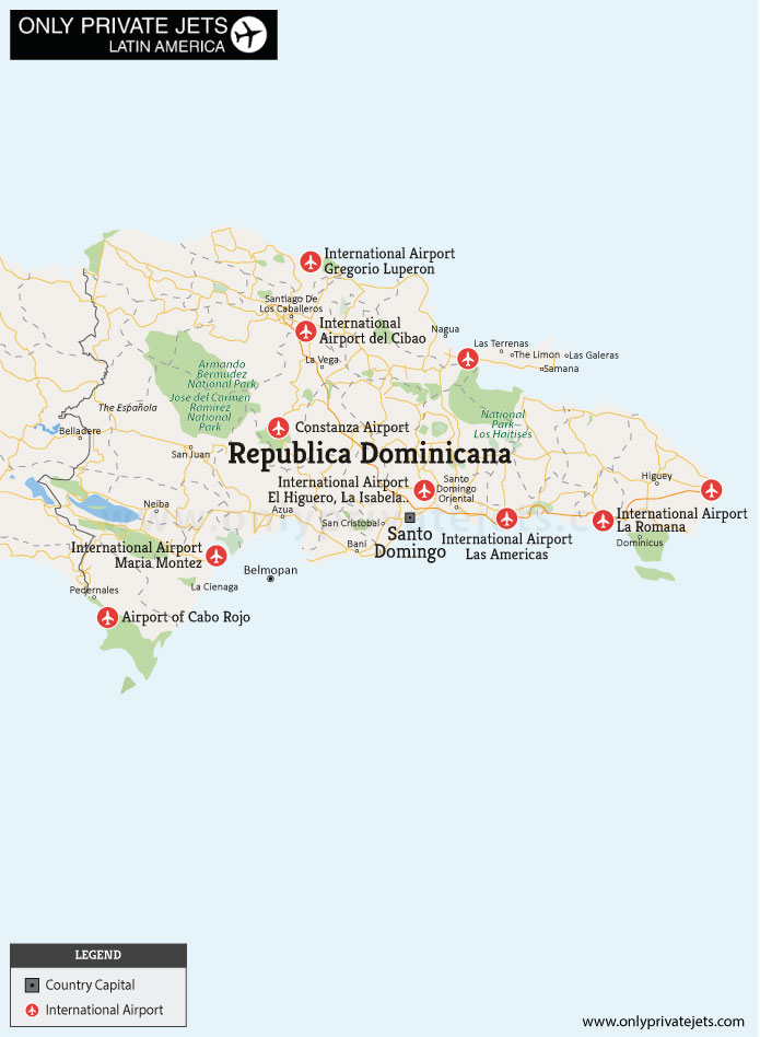Republica Dominicana private jet airports map
