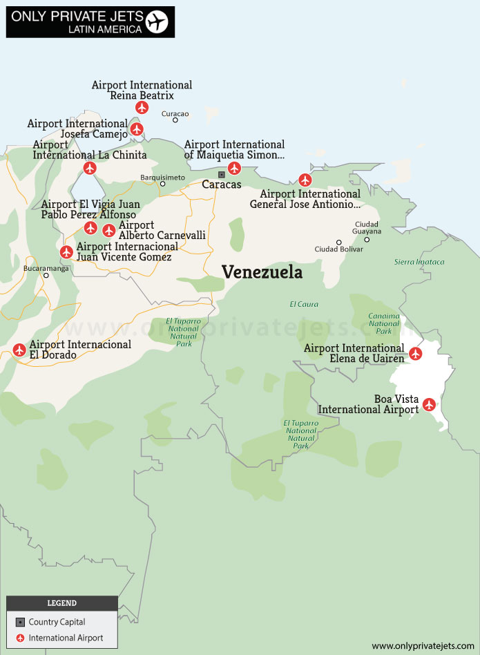 Venezuela private jet airports map